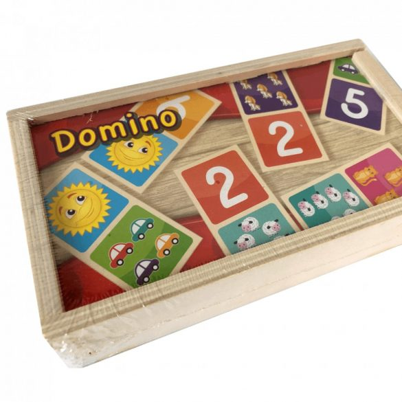 Domino fa játék (minták és számok)