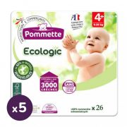 Pommette Ecologic 50 %-ban lebomló öko pelenka, Maxi+ 4+, 9-20 kg, 130 db