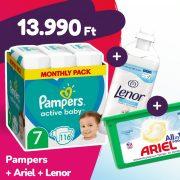 Pampers Active Baby pelenka, XL 7, 15 kg+, 116 db + Ariel mosókapszula + Lenor öblítő