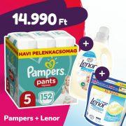Pampers Pants bugyipelenka, Junior 5, 12-17 kg, 152 db + Lenor mosókapszula + öblítő