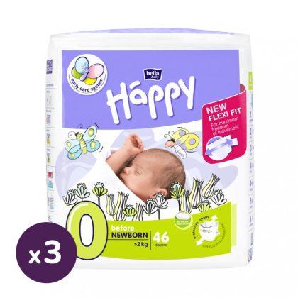 Bella Happy pelenka, Koraszülött 0, 0-2 kg, HAVI PELENKACSOMAG 3x46 db