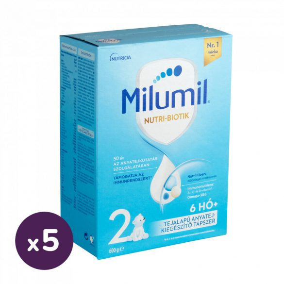 Milumil 2 anyatej-kiegészítő tápszer 6-12 hó (5x600 g)