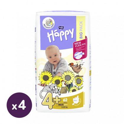 Bella Happy nadrágpelenka Maxi+ 4+, 9-20 kg HAVI PELENKACSOMAG 4x62 db