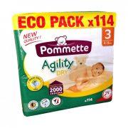 Pommette Agility Dry Eco Pack pelenka, Midi 3, 4-9 kg, 114 db