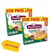 Pommette Agility Dry Eco Pack pelenka, Midi 3, 4-9 kg, HAVI PELENKACSOMAG 2x114 db
