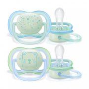Avent SCF376/11 Ultra air éjszakai fluoreszkáló játszócumi 0-6 hó 2 db (kék)