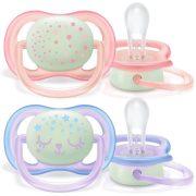 Avent SCF376/12 Ultra air éjszakai fluoreszkáló játszócumi 0-6 hó 2 db (rózsaszín, lila)