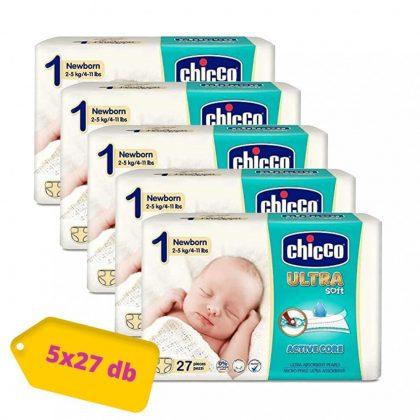 Chicco Ultra pelenka Újszülött 1, 2-5 kg HAVI PELENKACSOMAG 5x27 db