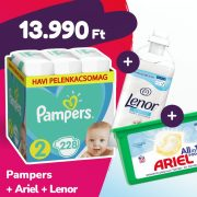 Pampers Active Baby pelenka, Mini 2, 4-8 kg, 228 db + Ariel mosókapszula + Lenor öblítő