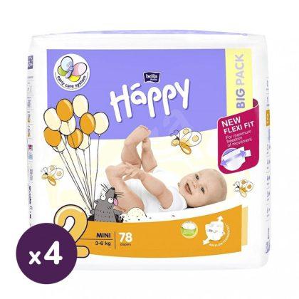 Bella Happy nadrágpelenka Mini 2, 3-6 kg HAVI PELENKACSOMAG 4x78 db