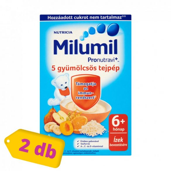 Milumil 5 gyümölcsös tejpép 6 hó+ (2x225 g)