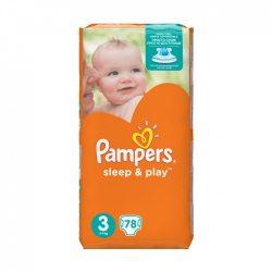 Pampers Sleep & Play pelenka, Midi 3, 4-9 kg, 78 db-os
