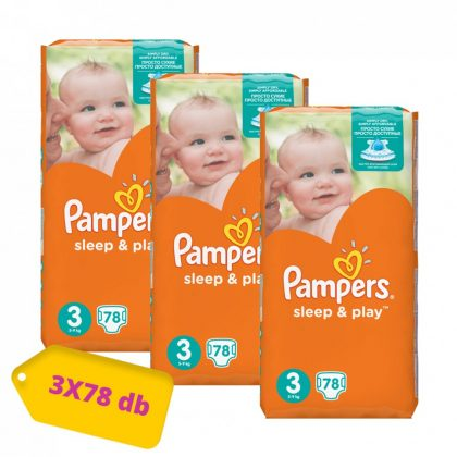 Pampers Sleep & Play pelenka, Midi 3, 6-10 kg, HAVI PELENKACSOMAG 3x78 db