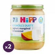 Hipp BIO joghurt mangóval és banánnal, 7 hó+ (2x160 g)