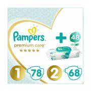 Pampers Premium Care 1, 2-5 kg, 78 db + 2, 4-8 kg, 68 db + Pampers Aqua Pure nedves törlőkendő 48 db
