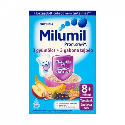 CSOMAGOLÁSSÉRÜLT - Milumil 3 gyümölcs + 3 gabona tejpép 8 hó+ (225 g)