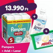 Pampers Pants bugyipelenka, Junior 5, 12-17 kg, 152 db + Ariel mosókapszula + Lenor öblítő