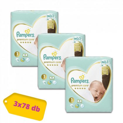 Pampers Premium Care pelenka, Újszülött 1, 2-5 kg, 2+1, 234 db