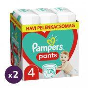 Pampers Pants bugyipelenka, Maxi 4, 9-15 kg, 1+1, 352 db + AJÁNDÉK Pampers Pure kókuszos törlőkendő 2x42 db