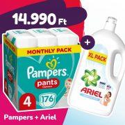 Pampers Pants bugyipelenka, Maxi 4, 9-15 kg, 176 db + Ariel Sensitive mosógél