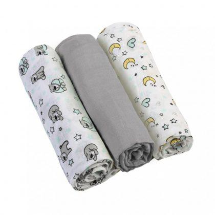 BabyOno textilpelenka - szürke (3 db)