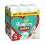 Pampers Pants bugyipelenka, Junior 5, 12-17 kg, HAVI PELENKACSOMAG 152 db + AJÁNDÉK Pampers Pure kókuszos törlőkendő 42 db