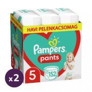 Pampers Pants bugyipelenka, Junior 5, 12-17 kg, 1+1, 304 db + AJÁNDÉK Pampers Pure kókuszos törlőkendő 2x42 db