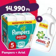 Pampers Pants bugyipelenka, Junior 5, 12-17 kg, 152 db + Ariel Sensitive mosógél