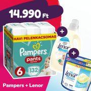 Pampers Pants bugyipelenka, XL 6, 15+ kg, 132 db + Lenor mosókapszula + öblítő