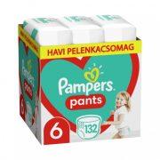Pampers Pants bugyipelenka, XL 6, 15+ kg, HAVI PELENKACSOMAG 132 db + AJÁNDÉK Pampers Pure kókuszos törlőkendő 42 db