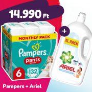 Pampers Pants bugyipelenka, XL 6, 15+ kg, 132 db + Ariel Sensitive mosógél