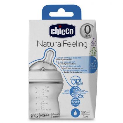 Chicco Natural Feeling műanyag cumisüveg szilikon ferde etetőcumival 0 hó+ 150 ml