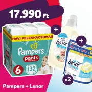 Pampers Pants bugyipelenka, XL 6, 15+ kg, 132 db + 2 csomag Lenor mosókapszula + öblítő