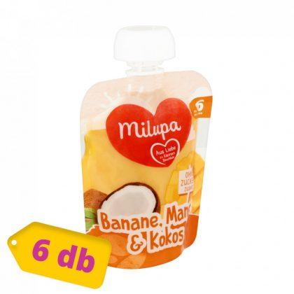 Milupa banán-mangó-kókusz gyümölcspüré 6 hó+ (6x90 g)