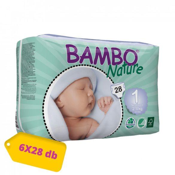 MEGSZŰNT - Bambo Nature öko pelenka, Újszülött 1, 2-4 kg, HAVI PELENKACSOMAG 6x28 db