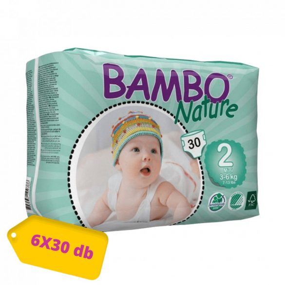 MEGSZŰNT - Bambo Nature öko pelenka, Mini 2, 3-6 kg, HAVI PELENKACSOMAG 6x30 db