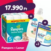 Pampers Active Baby pelenka, Junior 5, 11-16 kg, 150 db + 2 csomag Lenor mosókapszula + öblítő