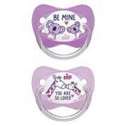 Nip Family latex játszócumi 0-6 hó 2 db (rózsaszín, lila) - zsiráf, koala