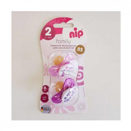 Nip Family latex játszócumi 5-18 hó 2 db (rózsaszín) - zsiráf, koala