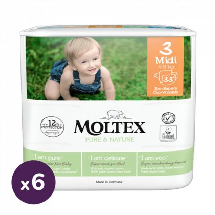MOLTEX Pure&Nature öko pelenka, Midi 3, 4-9 kg HAVI PELENKACSOMAG 198 db