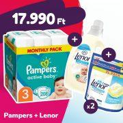 Pampers Active Baby pelenka, Midi 3, 6-10 kg, 208 db + 2 csomag Lenor mosókapszula + öblítő