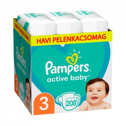 Pampers Active Baby pelenka, Midi 3, 6-10 kg, HAVI PELENKACSOMAG 208 db + AJÁNDÉK Pampers Pure kókuszos törlőkendő 42 db