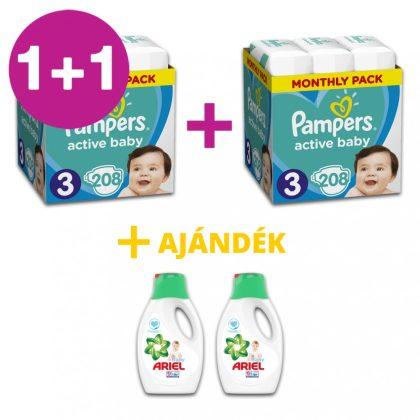 Pampers Active Baby pelenka, Midi 3, 6-10 kg, 1+1, 416 db + AJÁNDÉK