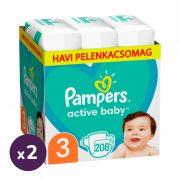 Pampers Active Baby pelenka, Midi 3, 6-10 kg, 1+1, 416 db + AJÁNDÉK Pampers Pure kókuszos törlőkendő 2x42 db