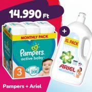 Pampers Active Baby pelenka, Midi 3, 6-10 kg, 208 db + Ariel Sensitive mosógél