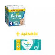 Pampers Active Baby Maxi 4, 9-14 kg HAVI PELENKACSOMAG 174 db + AJÁNDÉK