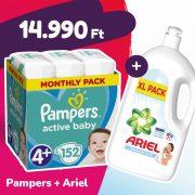 Pampers Active Baby pelenka, Maxi+ 4+, 10-15 kg, 152 db + Ariel Sensitive mosógél
