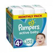 CSOMAGOLÁSSÉRÜLT - Pampers Active Baby pelenka, Maxi+ 4+, 10-15 kg, HAVI PELENKACSOMAG 152 db
