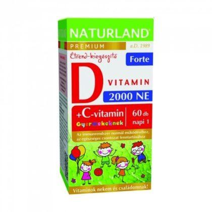 Naturland prémium D-vitamin forte rágótabletta gyerekeknek (60 db)