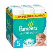 Pampers Active Baby pelenka, Junior 5, 11-16 kg, HAVI PELENKACSOMAG 150 db + AJÁNDÉK Pampers Pure kókuszos törlőkendő 42 db
